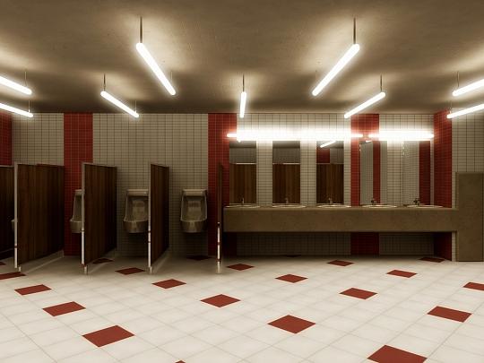 Изработка на 3D интериорни визуализации на санитарно помещение в Мол Русе
